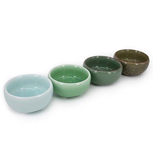Kungfu TeacupChinese Long-quan Celadon TeacupTea Set Different Colors Set of 4