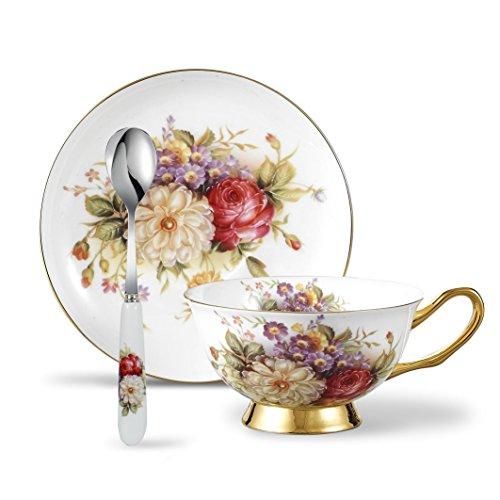 Panbado 3 Piece Bone China Tea Cup Saucer Set with Spoon Porcelain Gold Rimmed Teacup Coffee Flower 200ml 68 oz WhiteGolden