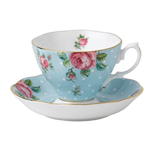 Royal Albert Formal Vintage Teacup and Saucer Boxed Set Polka Blue