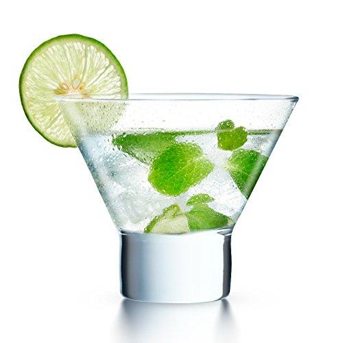 KooK Stemless Martini Cocktail Glass 8 Ounces Set of 6