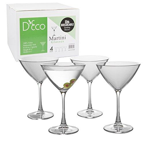 Unbreakable Martini Glasses - 100 Tritan - Shatterproof Reusable Dishwasher Safe Set of 4