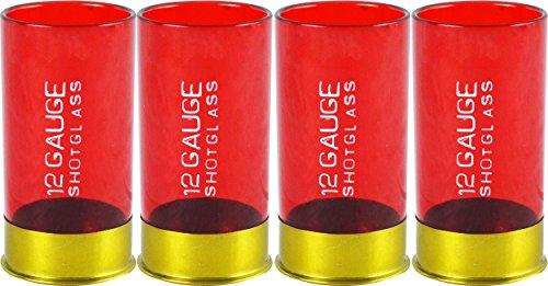 12 Gauge Shotgun Shell Shot Glasses Red Set of 4