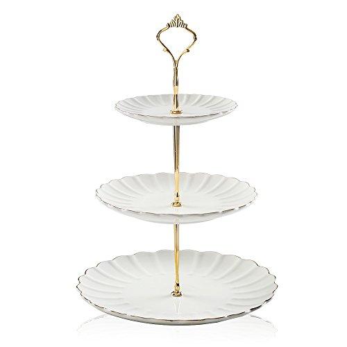 Sweejar 3 tier ceramic cake stand wedding dessert cupcake stand for tea party serving platter