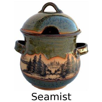 Mountain Scene Soup Tureen in Seamist Glaze