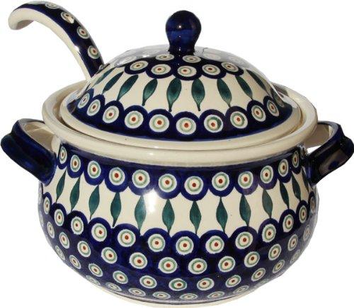 Polish Pottery Soup Tureen with Ladle Zaklady Ceramiczne Boleslawiec 10041367-56 Peacock Pattern 134 cups