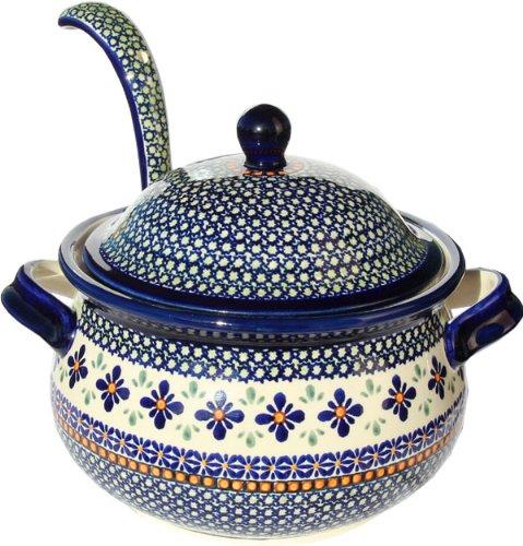 Polish Pottery Soup Tureen with Ladle Zaklady Ceramiczne Boleslawiec 10041367-du60 Unikat Pattern 134 Cups