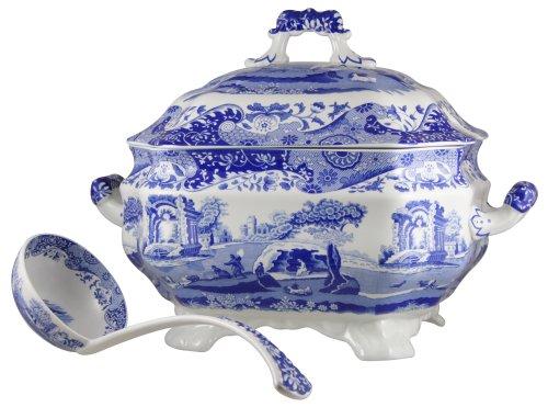 Spode Blue Italian Soup Tureen and Ladle Set