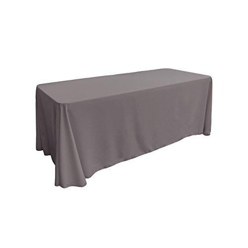 LA Linen Polyester Poplin Rectangular Tablecloth 90 by 132-Inch Grey Dark