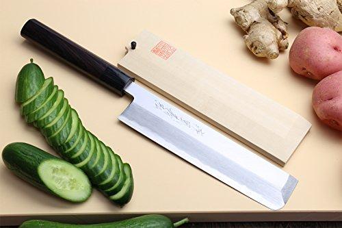 Yoshihiro Shiroko High Carbon Steel Kasumi Edo Usuba Vegetable Japanese Chefs Knife 7 IN 180mm Shitan Handle