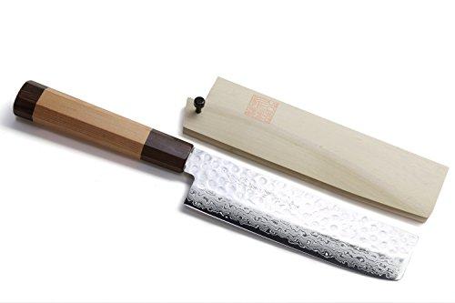 Yoshihiro VG-10 46 Layers Hammered Damascus NakiriUsuba Japanese Vegetable Chefs Knife Octagonal Red Pine Handle