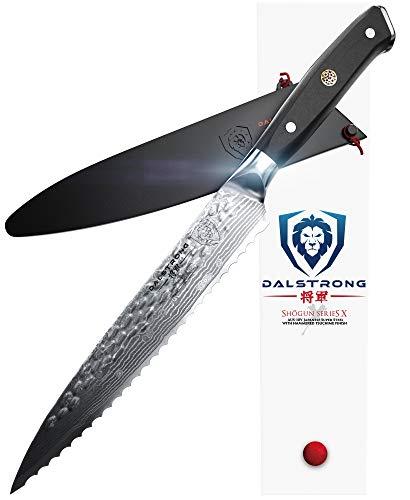 DALSTRONG Serrated Utility Knife - Shogun Series X - Petty - Damascus - Japanese AUS-10V Super Steel - 6 - Sheath