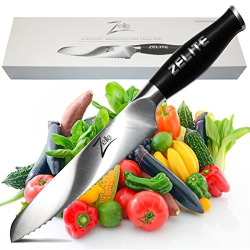 Zelite Infinity Serrated Utility Knife 6 Inch - Comfort-Pro Series - German High Carbon Stainless Steel - Razor Sharp Super Comfortable