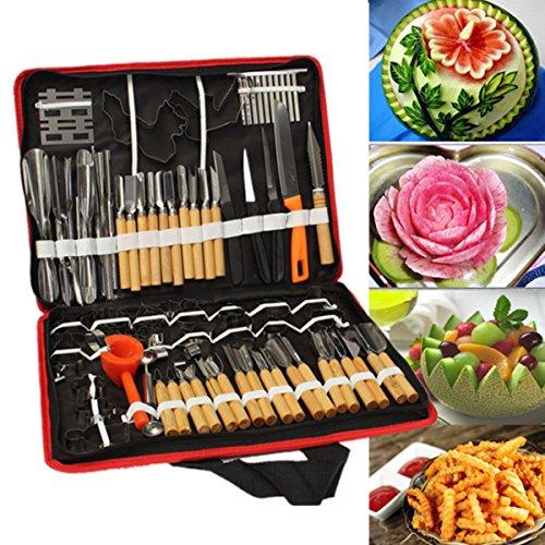 Agile-shop 80pcsSet Portable Vegetable Fruit Food Wood Box Peeling Carving Tools Kit Pack