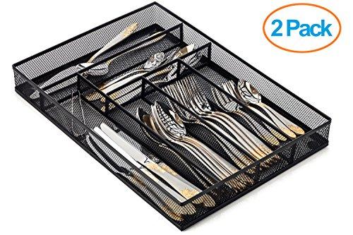 Halter Steel Mesh Large Silverware Cutlery Tray Organizer with No-Slip Foam Feet - Kitchen Organization  Silverware Storage - 16 X 1125 X 2 - 2 Pack