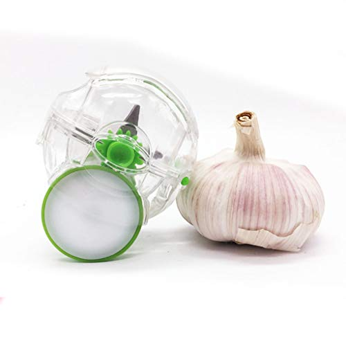 Garlic Mincer Garlic Chopper Handheld Garlic Rolling Mincer Kitchen Gadget Tool with Wheel Clear