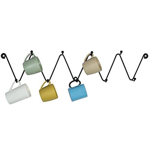 Metal Zigzag Design 9-Hook Wall Mounted Coffee Mug Rack Kitchen Bathroom Towel Hanger Hooks Black