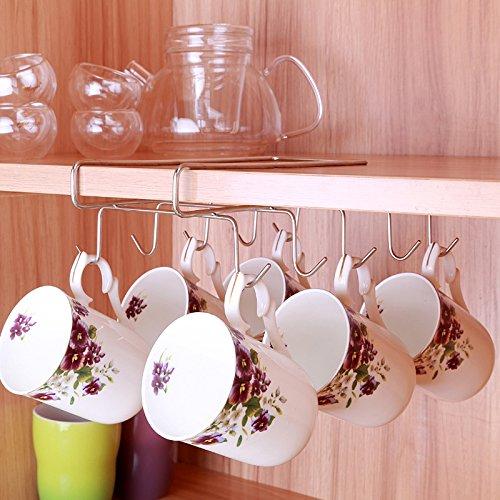 Mug Hooks Essort 10 Hooks Under Shelf Mugs Cups Wine Glasses Storage Drying Holder Rack Cabinet Hanging Organizer Rack for Ties And Belts
