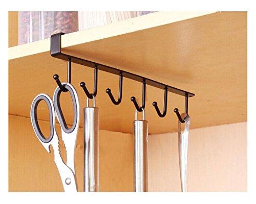 Mug Hooks Storage Rack  YWSiwa Kitchen Wardrobe Cupboard Hanging Hook Hanger Organizer Holder Black