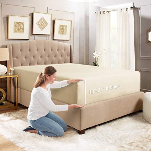 Empyrean Bedding Deep Pocket Fitted Sheet - Hotel Luxury Silky Soft Double Brushed Microfiber Sheet - Hypoallergenic Wrinkle Free Cooling Deep Pocket Bed Sheet Cream Beige - King