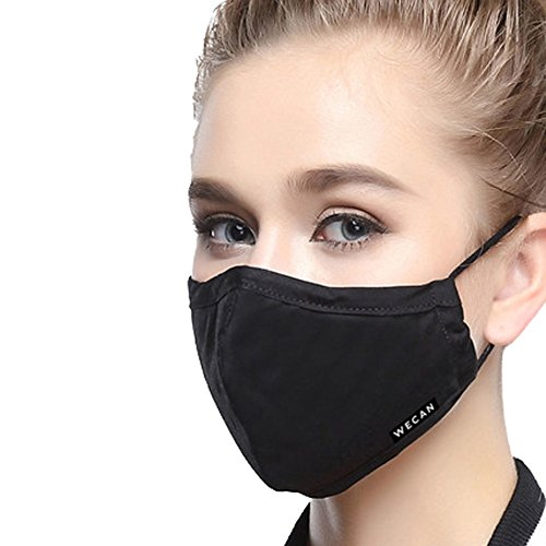 ZWZCYZ Masks Dust Mask Anti Pollution Mask PM25 4 Layer Activated Carbon Filter Insert Can Be Washed Reusable Masks Cotton Mouth Mask for Men Women MediumWomens Black
