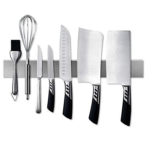 Magnetic Knife Strip Stainless Steel Magnetic Knife BarKnife Holder Knife Rack Kitchen Utensil Holder with Powerful Magnetic Pull Force 16In Silver