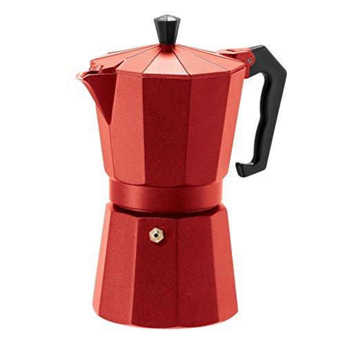 Oggi 65712 6 Cup Cast Aluminum Stovetop Espresso Maker Red