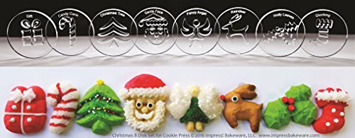 Christmas 8 Disk Set for Cookie Presses SIZE M See DISK SIZING Image to LEFT of Product Information for appropriate DISK SIZE for your Cookie Press