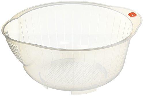 Inomata Japanese Rice Washing Bowl with Strainer 25-Quart Capacity
