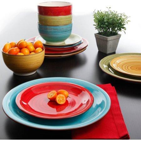 Better Homes and Gardens Festival 12-Piece Dinnerware Set Assorted Dishwasher Safe
