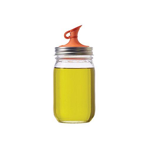 Jarware 82640 Oil Cruet Lid for Regular Mouth Mason Jars Orange