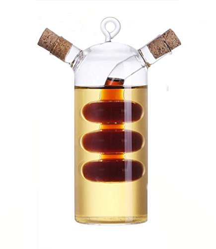 Kitchen Supplies Glass Olive Oil Bottle Cruet2 in 1 Oil and Vinegar HolderGourd