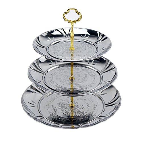 Fruit Cake Buffet Plates Petforu 3-Tier Stainless Steel Candy Dessert Cupcake Fruit Plate Stand Plum Blossom Design