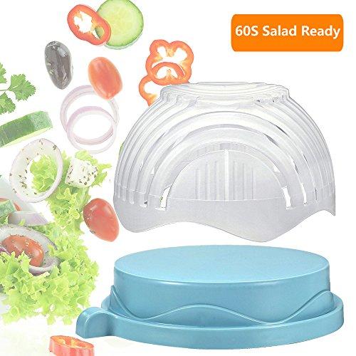 60 Seconds Salad Maker Salad Cutter Bowl Fruit Vegetable Bowl Cutter-Fast Fresh Salad Slicer Salad ChopperBlue