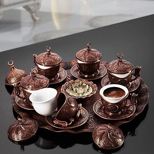 SET of 6 Ottoman Turkish Greek Arabic Coffee Espresso Serving Cup Saucer Set