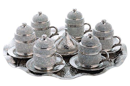Handmade Copper Turkish Coffee Espresso Serving Set Swarovski Crystal Coated Cup Upper Crust Serve 6 person Style2