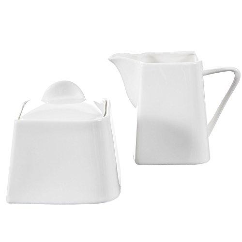 Malacasa 3 Piece Series Joesfa Porcelain China Ceramic Creamer Serving Set for Coffee and Tea Milk Jug Pot with Lid Ivory White