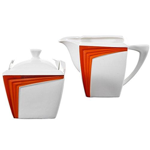Malacasa Series Rebeca Orange 3-Piece Ivory White Porcelain China Ceramic Sugar and Creamer Serving Set For Coffee and Tea with 1-Piece Milk Jug and 1-Set Sugar Pot2-Piece with Lid