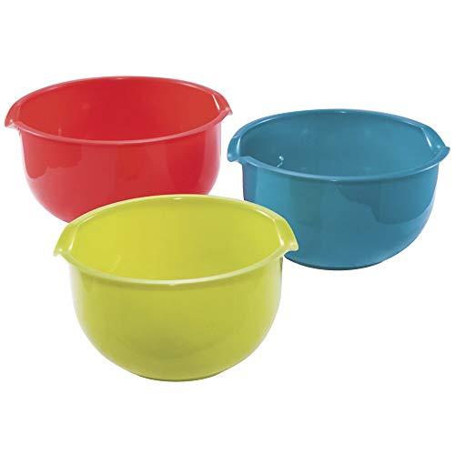 N-A 3-Piece Mixing Bowl Set Case of 8 Multi Color Plastic 3 Piece Dishwasher Safe