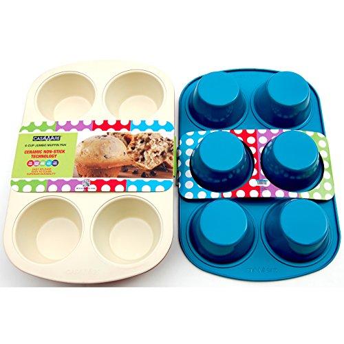 casaWare Ceramic Coated Non-Stick 6 Cup Jumbo Muffin Pan CreamBlue