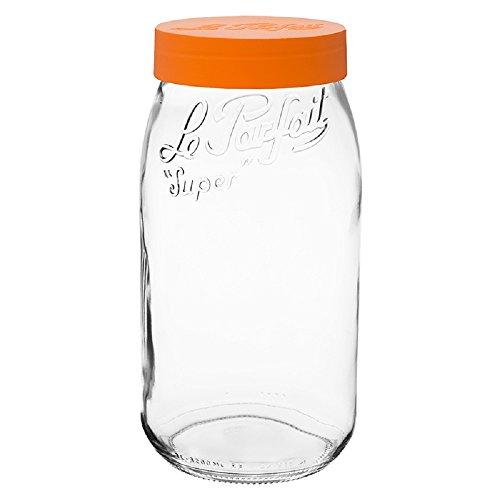 Le Parfait Screw-Top Glass Canning Mason Super Jar With Orange Plastic Lid3 Liter