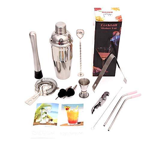 WEIDESHI Cocktail Shaker Bar Set Stainless Steel Bar Tools 24oz Bartender Kit with Martini Shaker Jigger Pourer Muddler Spoon Ice Tong (12 piece set)