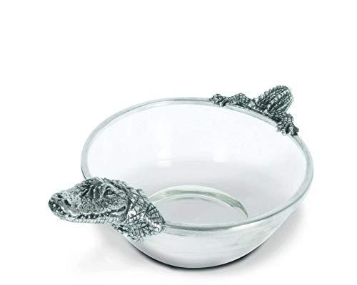 Vagabond House Pewter Alligator Glass Dip Bowl 105 Wide x 6 Long