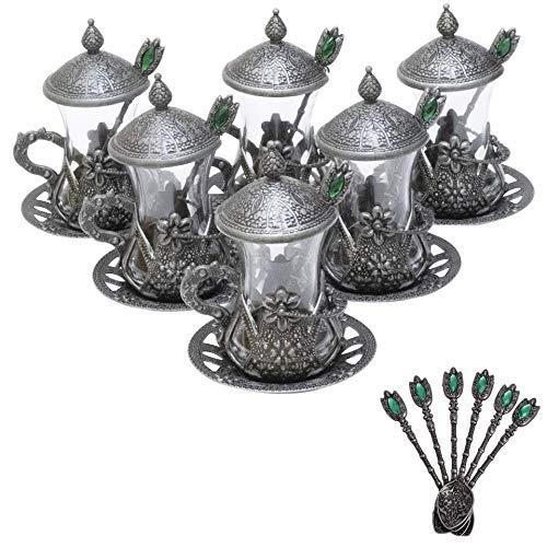 Alisveristime Set of 6 Handmade Turkish Tea Water Zamzam Serving Set Glasses Saucer and Spoon Black Color