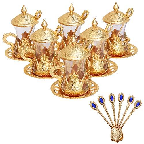 Alisveristime Set of 6 Handmade Turkish Tea Water Zamzam Serving Set Glasses Saucer and Spoon Gold Color
