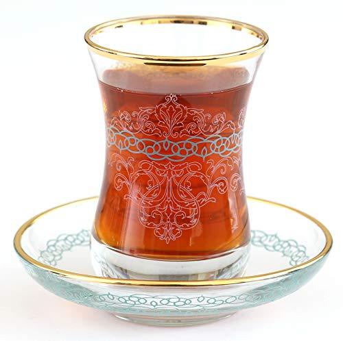 Gold Plated Pink - Turquoise Desgin Turkish Tea Glasses with Saucers Set of 6 - NURBANU