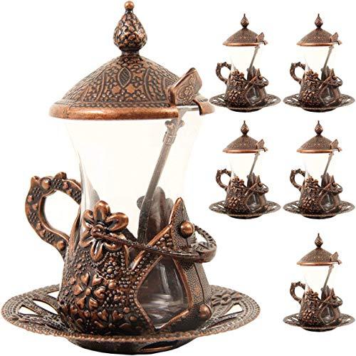 HAVLULAND Set of 6 Turkish Tea Set Water Zamzam Serving Set Glasses Saucer Copper