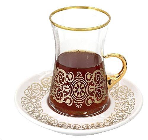 Sarmasik Turkish Tea Glasses with Saucers Set of 6-5 Ounces 12 Pcs