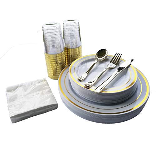 25 Guest Disposable Plastic Plates Gold Plastic Silverware Plastic Dinnerware set 25 Heavy Duty Plastic Dinner Plates 25 Salad Plates 25 Cups 25 Forks 25 Knives 25 Spoons Bonus 50 Napkins