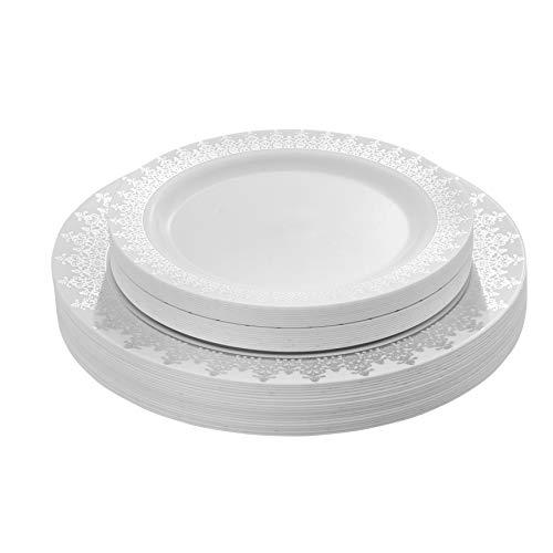40 Piece Elegant Plastic Plates Set Fancy Disposable Plastic Dinnerware Set White Plates With Silver Rim Includes 20 Dinner plates 20 Dessert Plates - Posh Setting
