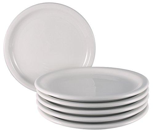 ITI Valencia Ceramic Plates with Pan Scraper Bone White 6-Pack 9 Inch